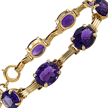 Mid Century Amethyst and Gold Line Bracelet