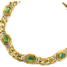 Bvlgari Estate Emerald Gold Platinum Link Bracelet