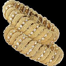 David Webb Estate Twin Gold and Diamond Link Bracelets