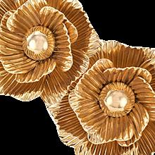 Camellia Flower Sculptural 14 k Gold Ear Clips
