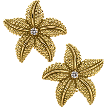 Estate Sea Star Ear Clips with Diamonds And Textured 18 Karat Gold