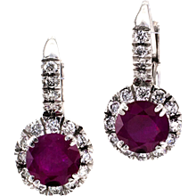Estate Ruby And Diamond Earrings