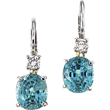 Natural Blue Zircon and Diamond Estate Earrings