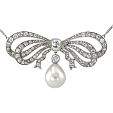Edwardian Diamond and Cultured Pearl Bow Necklace