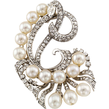 Mid-Century Cultured Pearl And Diamond Clip Brooch