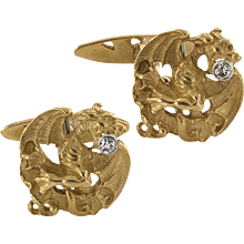 Griffin Cufflinks Art Nouveau Gold and Diamond
