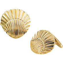 Shell-Shaped Gold Cuff Links