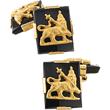 Black Onyx And Gold Double Sided Estate Cuff Links