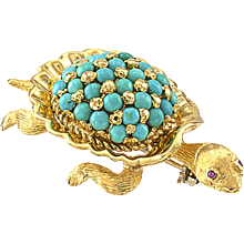 Turquoise and Ruby Sea Turtle Brooch Circa 1960