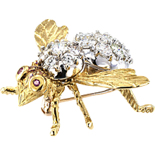 Rosenthal Estate Diamond and Ruby Bee Pin