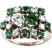 Mid Century Emerald and Diamond Ring