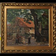 JohannWenzel  Painting  Oil on canva : Motiv aus Danzig (Gdansk Reason) (1896)