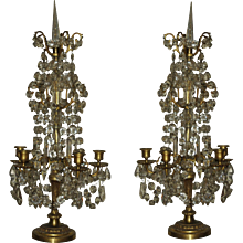 19th Century Pair of Crystal Baccarat and gilded bronze 5 light ,no electrify .