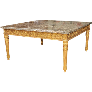 Marble Top Gilt Wood Square Table