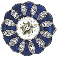 Art Deco Style Diamond and Sapphire Ring