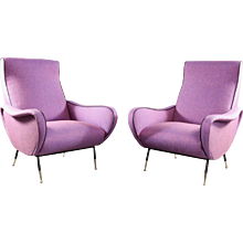 Pair of Ladychairs Attributed to Marco Zanuso, Italy, 1950