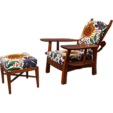 pair of huge armchair with ottoman, Architect Hugo Gorge, Vienna 1930. solid oak, backrest adjustabe, upholstered with Josef Frank fabric.