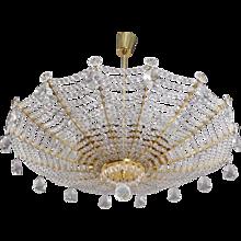 Rare Umbrella Crystal Glass Hanging Lamp by Rupert Nikoll Vienna, 1950