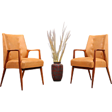 Charming Pair of Walnut Armchairs Designed Architect by Carl Appel, Vienna, 1956
