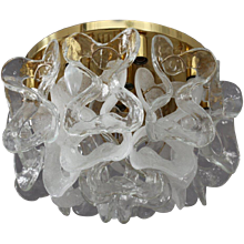 Ceiling Crystal Glass Flush Mount by J. T. Kalmar, Austria, 1970