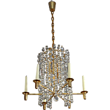 Bakalowits Chandelier Pendant Light, Gilt Brass Crystal Glass, Vienna 1960s