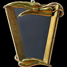 Hand Hammered Brass Framed Mirror attr. Franz Hagenauer - Vienna 1950