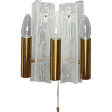 Pair of Opal Foam Glass Sconces Designed J. T. Kalmar Vienna, 1950