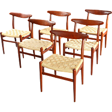 Six Teak Dining Chairs Mod. W2 Designed Hans Wegner, Denmark, 1950