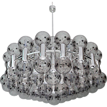 Large Chrome and Glass Chandelier by Motoko Ishii/Japan for Staff, Germany, 1971