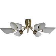 Ceiling Flush Mount Sputnik Designed by Rupert Nikoll, Vienna, 1950