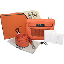 Hermes Orange Suede and Swift Leather Berline Bag