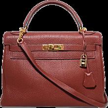 Hermes Ruby Rouge Garance 32cm Togo Leather Kelly Bag