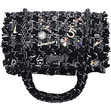 Chanel Black Tweed Charms Classic 10inch 2.55 Flap-runway Edition