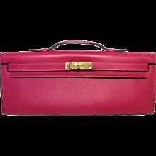 Hermes Kelly Cut Fuchsia Swift Leather Clutch Handbag