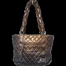 Chanel Dark Grey Distressed Leather Shopper Tote Shoulder Bag