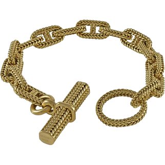Hermes Chain d'Ancree Tresse 18K Yellow Gold Toggle Bracelet
