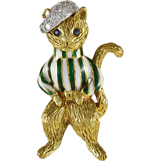 Tiffany Diamond & Enamel 18K Yellow Gold Cat Brooch