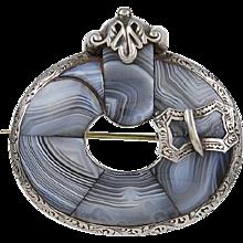 Grey Agate Sterling Silver Scottish Brooch