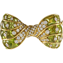 Bvlgari Peridot & Diamond 18K Yellow Gold Bow Brooch