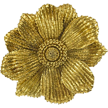 Rebecca Koven 18K Yellow Gold Flower Brooch