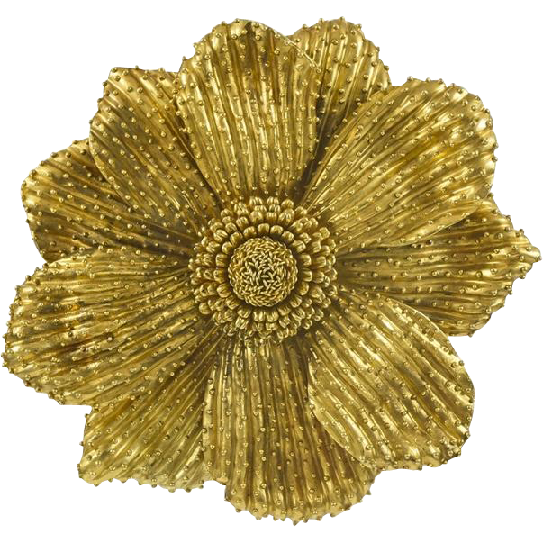 Rebecca Koven 18k Yellow Gold Flower Brooch From Michael