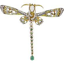 Masriera Diamond & Emerald Plique DragonFly Brooch