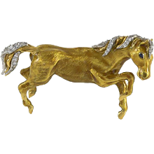 Tiffany Diamond, Sapphire & Enamel 18K Yellow Gold Horse Brooch