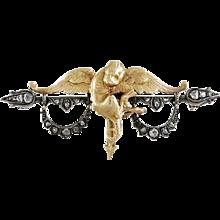 Griffin 18K Yellow Gold & Rose Diamond Brooch