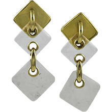 A. Cipullo Padlock Style Clear & Frosted 18K Yellow Gold Earrings