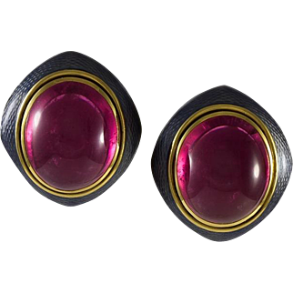 De Vroomen 18K Gold Cabochon Pink Tourmaline Earrings