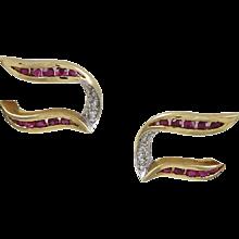 Ruby & Diamond 14K Yellow Gold Earrings