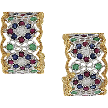 Buccellati Multi Gemset 18K Yellow & White Gold Earrings