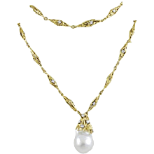 "Australian South Sea Pearl ""Straw"" 18K Yellow Gold & Diamond Necklace"