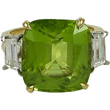 Oscar Heyman Burma Peridot & Diamond 18K Yellow Gold Ring